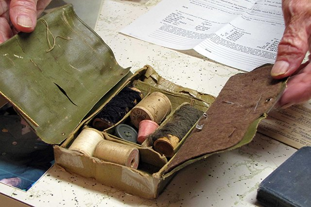 PFC Carter's sewing kit, issued to all soldiers.