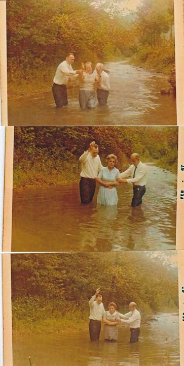 Baptism in Blackberry Creek, 1966.