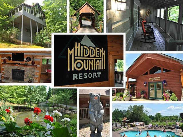 A collage of cabin photos for Hidden Mountain Resort in Tennessee | Blue Ridge Country