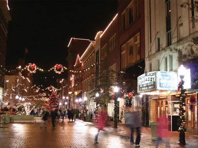 Cumberland's downtown is dazzling at Christmas.
