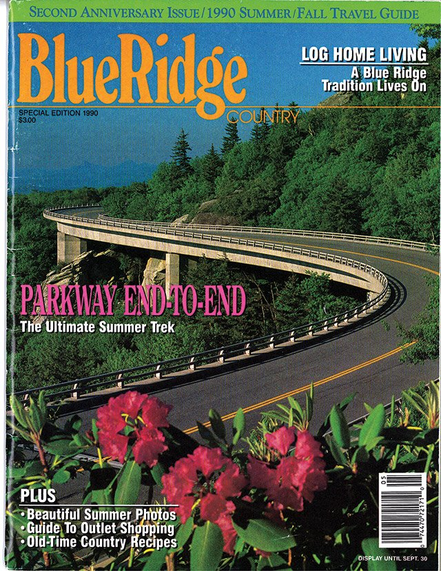 July/August 1990 Linn Cove Viaduct in full green with rhododendron foreground