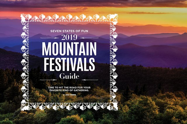 Sunset over a mountain range festival guide cover | Blue Ridge Country