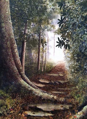 Into-the-Clearing-14-X-11-inches,-Alan-Shuptrine,-watercolor.jpg
