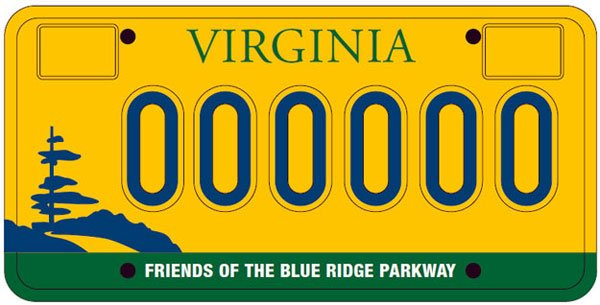 VA Blue Ridge Parkway License Plate
